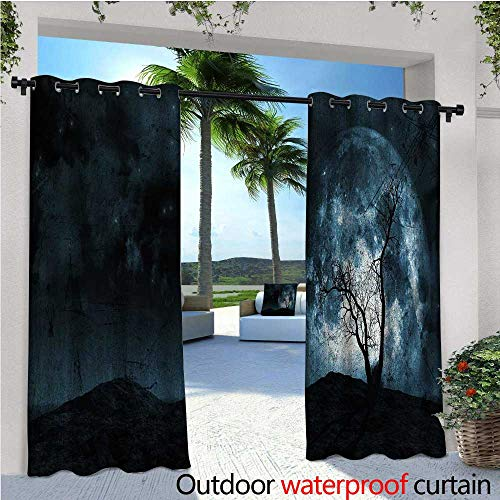 (Fantasy Outdoor Privacy Curtain for Pergola Night Moon Sky with Tree Silhouette Gothic Halloween Colors Scary Artsy Background Thermal Insulated Water Repellent Drape for Balcony W108