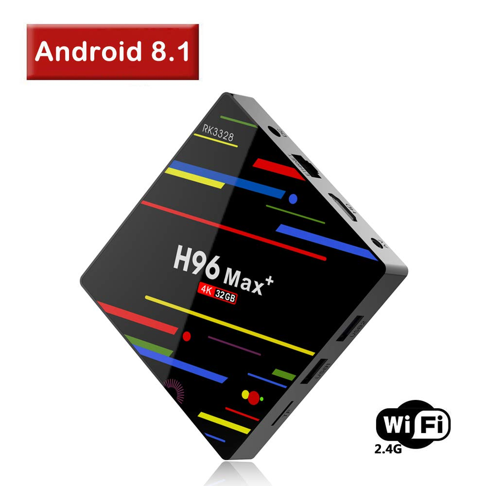 【2018 TV Box 4GB + 32GB】 ESoku H96 Max Plus Android 8.1 TV Box, RK3328 Quad-Core 64bit 4K Smart Set-top Box Support 2.4G WiFi /3D/USB3.0/ H.265