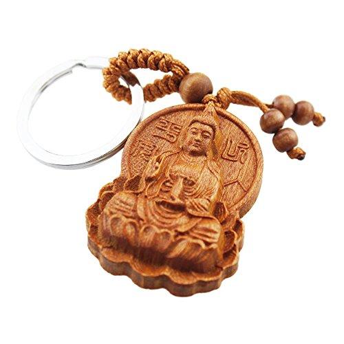 - FOY-MALL Kwan-yin Sitting on Lotus Rosewood Carved Men Women Key Chain M1163