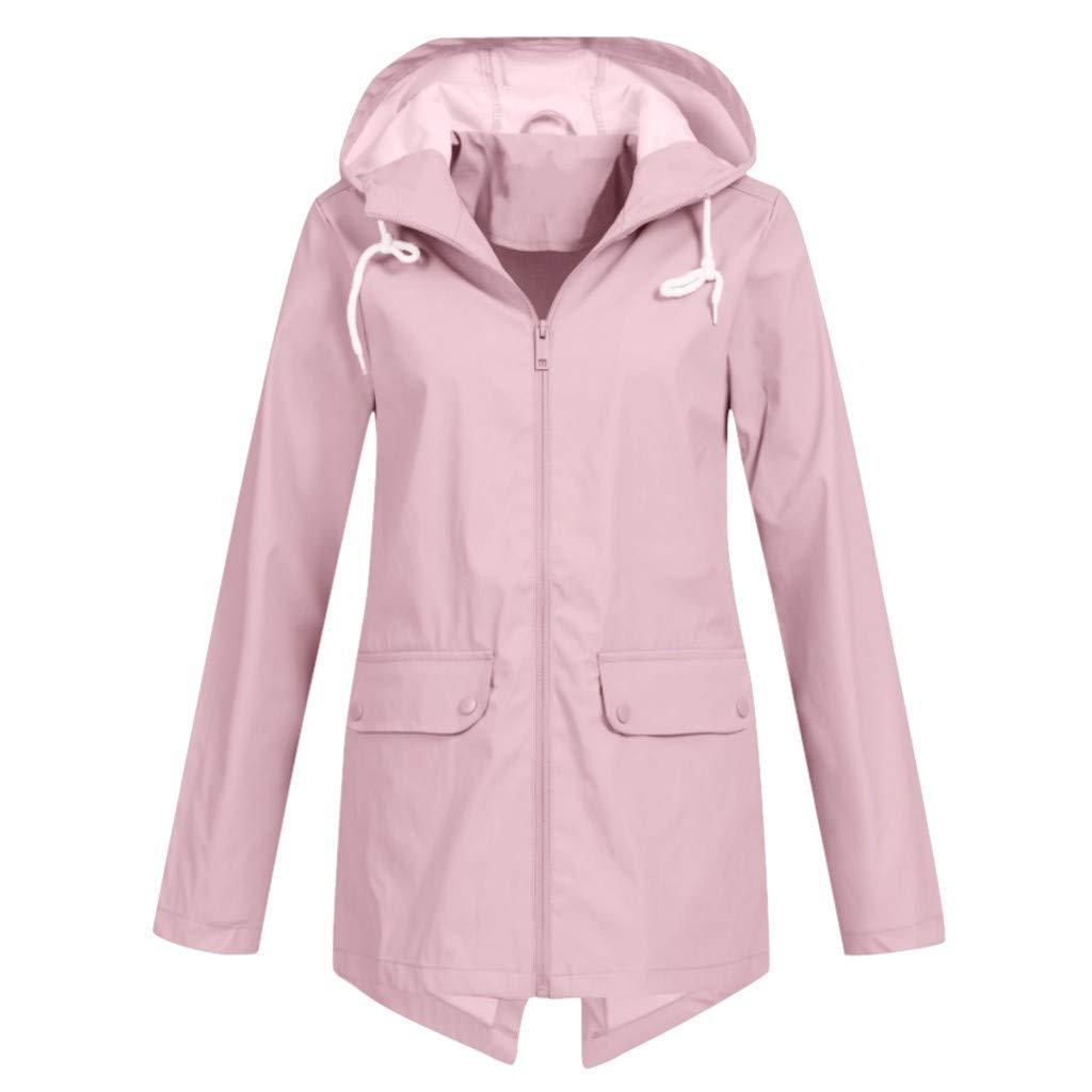 Pandaie Women Softshell Jacket Sport Outdoor Rain Jacket Hooded Windbreaker Waterproof Raincoat Plus Size Outwear Pink by Pandaie