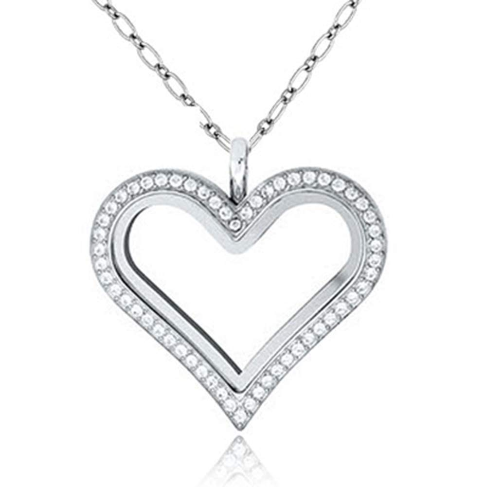 Jesse Ortega Heart Shaped Crystal Glass Living Memory Locket Pendant Necklace fit Floating Charms