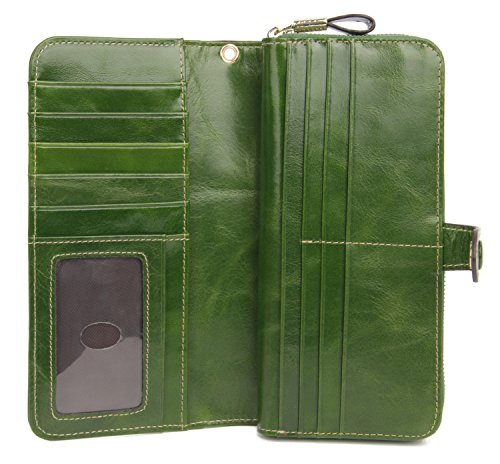 51tmmQRxmwL - Anvesino Women's RFID Blocking Real Leather Wallet Ladies Zipper Wristlet Clutch Green