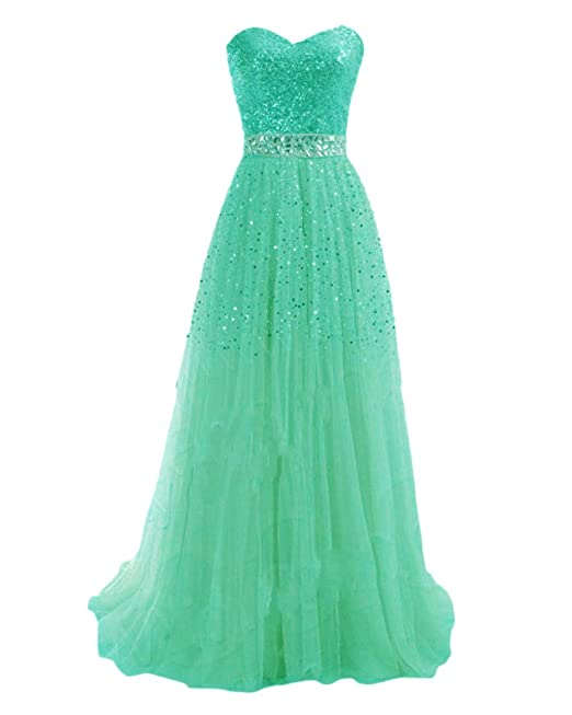 f81eed02d527 Donna Lunghi Senza Spalline Eleganti Abiti con Paillettes Cerimonia Vestiti  da Damigella Verde XL