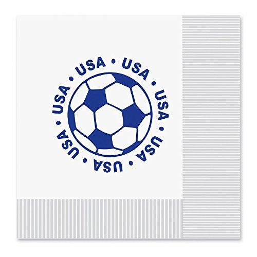 Club Pack of 192 White and Blue 2-Ply ''USA'' Soccer Ball Paper Party Lunch Napkins 6.5''