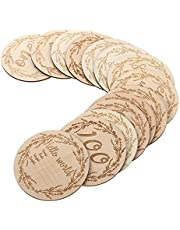Kisangel 14pcs Wooden Monthly Cards Baby Milestone Cards Baby Milestone Wood Discs for Baby Pregnancy Announcement Photo Props