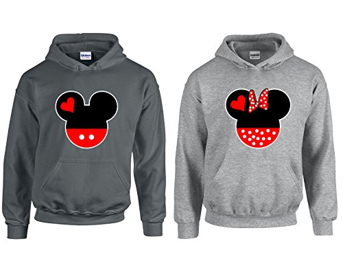 Mickey & Minnie Head Fashion Cool Disney Love Most Popular Hoodie Hooded Sweatshirt 1(charcoal-grey,Men-XL/Women-L) (Disney Jackets For Adults)