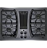 30 in downdraft cooktop - GE Profile Gas Downdraft Cooktop PGP9830SJSS Black Glass w/Stainless Steel Trim