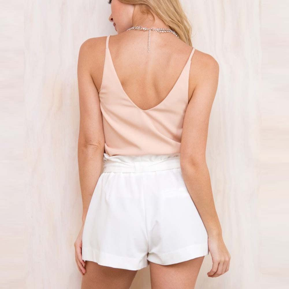 Etosell Femmes Casual des Taille Haute Jambes Larges Shorts