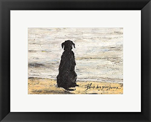 (Black Dog Going Home by Sam Toft Framed Art Print Wall Picture, Black Frame, 19 x 15 inches)