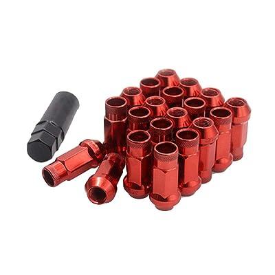 I33T Wheel Lug Nuts 12x1.25, M12x1.25 Lug Nut / 20 Pcs Length 48mm with 1 Key, Open End Lug Nut Set Universal Auto Red: Industrial & Scientific