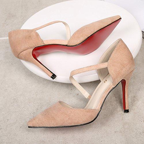 Femme Sandale Escarpin Pointue Escarpins Stiletto Chaussure Résistant Talons Aiguille Beige Fermé Hauts rxZwv0Uqr