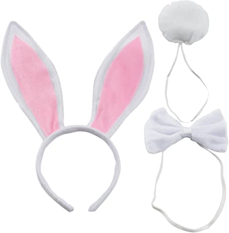 1PC Rabbit Bunny Ears Bow Tie Tail Headband Hair Band Fancy Dress Headwear Gift