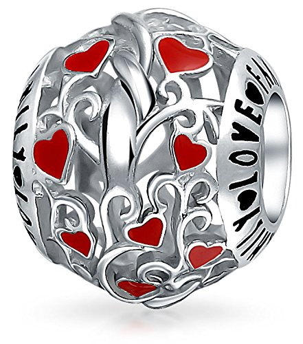 Cut Out Heart Charm (Bling Jewelry Round Cut Out Family Red Enamel Heart Charm Bead .925 Sterling Silver)