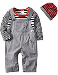 3Pcs Baby Boys Long Sleeve Stripe Romper Overalls Clothing Set with Hat
