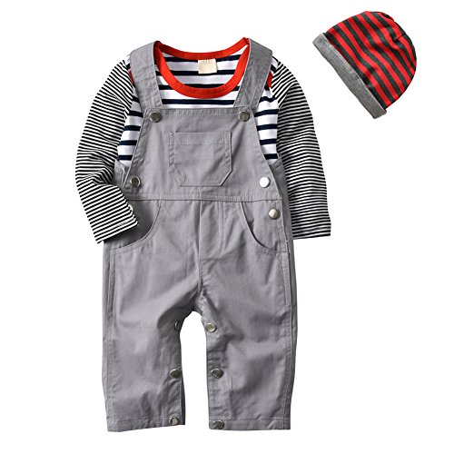 3Pcs Baby Boys Long Sleeve Stripe Romper Overalls Clothing Set with Hat (12-18 Months)