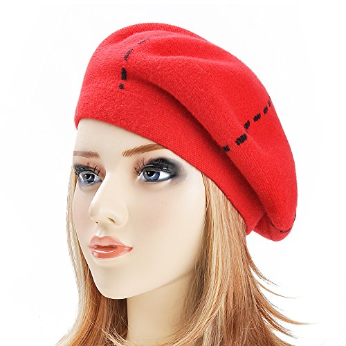 ZLYC Womens Reversible Cashmere Beret Hat Double Layers French Beret, Red