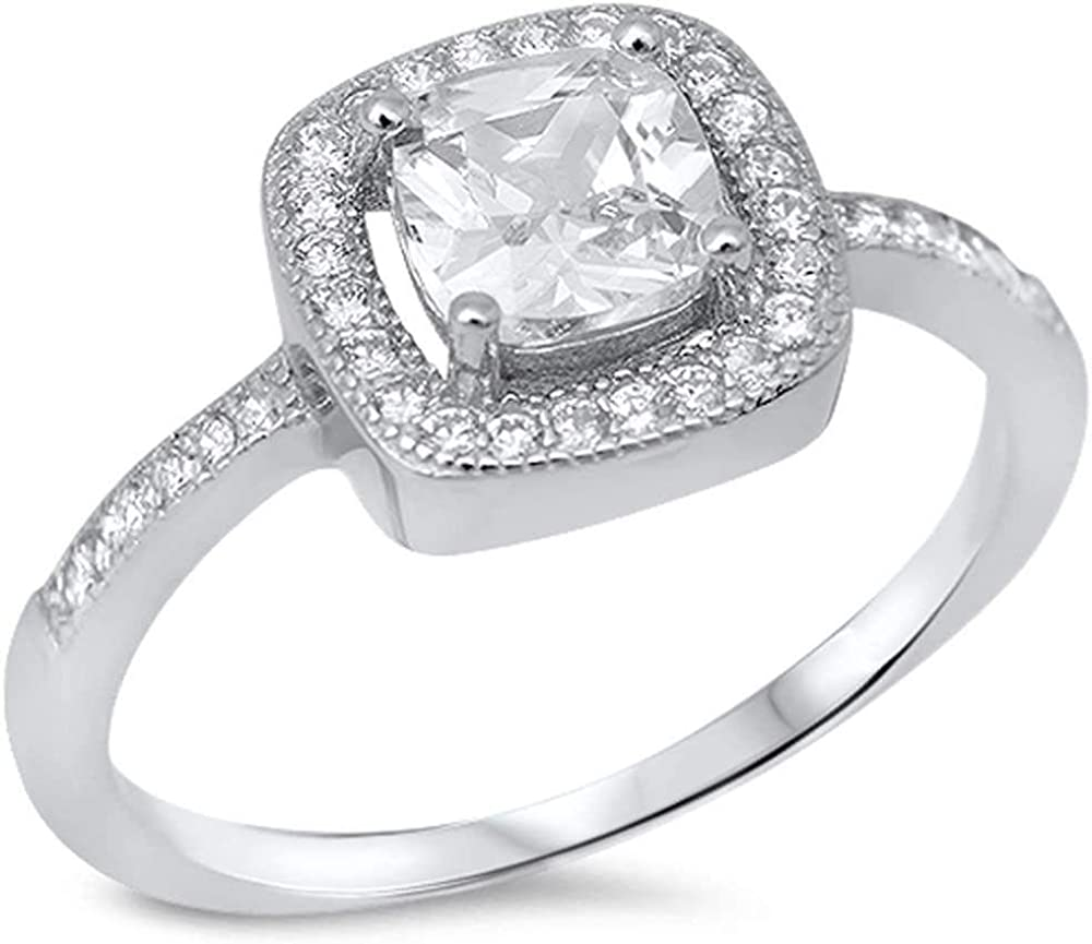 Princess Cut Clear Cubic Zirconia Thin Band Ring Sterling Silver