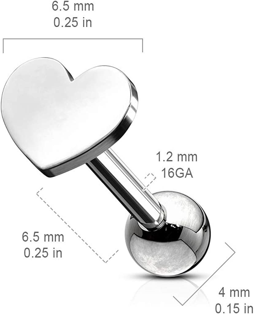 Pierced Owl Flat Heart Top 316L Stainless Steel Tragus Cartilage Ear Stud