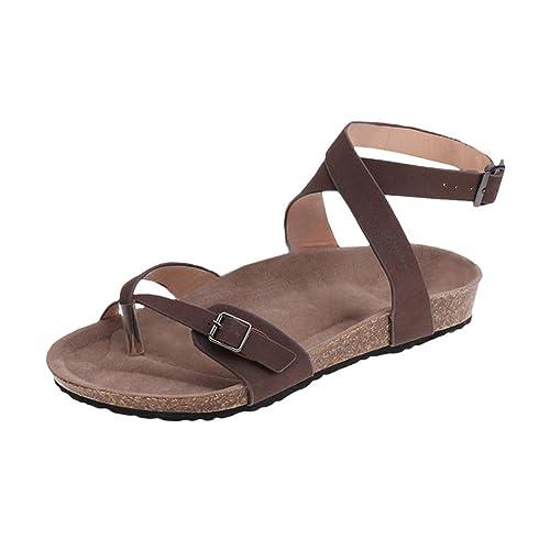 Mujer Romano Sandalias Plano Zapatos Gladiador Clip Toe Sandalias, Chancletas Hebilla Romano Peep Toe Elegante Bohemia Playa Sandalias Negro marrón ...
