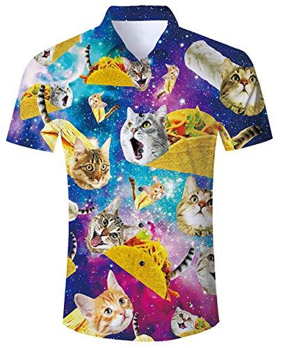 Goodstoworld Hawaii Hemd Herren Sommer Freizeithemd Kurzarm 3D Gedruckt Muster Graphic Aloha Hawaiihemd für Männer M-XXL