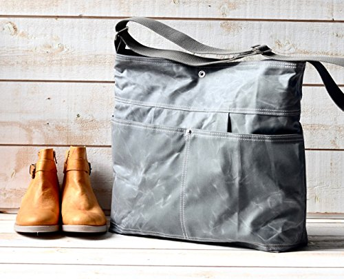 Waxed Canvas Diaper Bag Grey WCD02 by ikabags