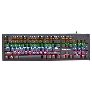 Kays Teclado Gaming mecanico Teclado de Juego mecánico, Teclado de Juego con Cable USB retroiluminado por LED con Panel de aleación de Aluminio para PC ...