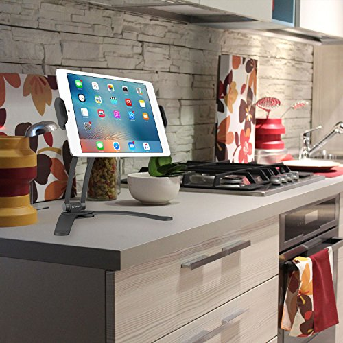 (Cellet Kitchen Tablet Mount Stand Cellet 2-in-1 Kitchen Wall/Counter Top Desktop Mount Recipe Holder Stand for Apple iPad, Pro 12.9/9.7/Air/Mini, Samsung Tablets, Google Pixel Book, Surface Pro)