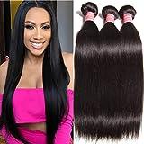 "Ali Julia Hair Wholesale 10A Peruvian Straight Virgin Hair Weave 3 Bundles 100% Unprocessed Remy Human Hair Weft Extensions 95-100g/pc (8 10 12"", Natural black color)"
