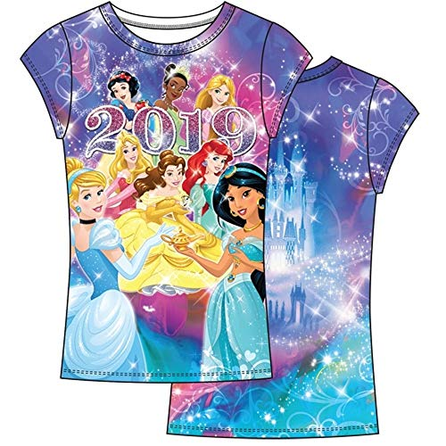 Disney Youth Girls 2019 Dated Princess Sublimated Top Large Multicolor Tee -