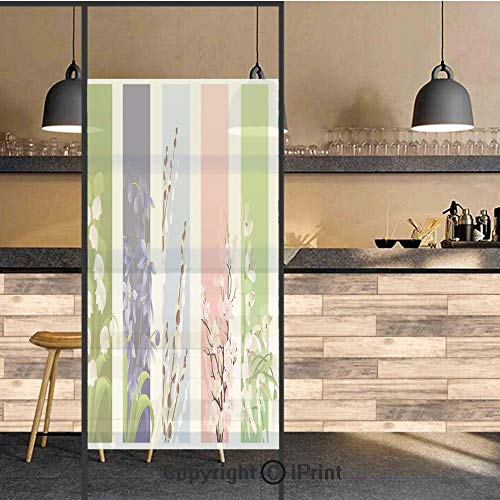 - 3D Decorative Privacy Window Films,Spring Flowers on Different Backgrounds Lily Valley Primrose Floral Home Decor,No-Glue Self Static Cling Glass Film for Home Bedroom Bathroom Kitchen Office 17.5x71