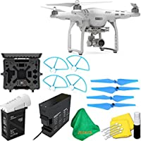 DJI Phantom 3 Advanced Quadcopter Drone with 2.7K HD Video Camera + Deluxe Hard Case + 4pcs Blue Propellers + Blue Propeller Guards + ZEEKITS Microfiber Cloth + Lens Cleaning Kit for DJI
