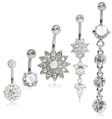 SkullParty 5PCS 14 Gauge Belly Button Rings Dangle Stainless Steel CZ Opal Belly Navel Rings Piercing for Women Girls Summer - (Belly Button Ring Gauge)