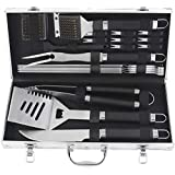 POLIGO 20pcs Stainless Steel BBQ Grill Tools Set - Complete Outdoor Barbecue Grill Utensils Set, Heavy Duty BBQ Accessories in Aluminum Carrying Case - Perfect Grilling Kit Gift Set for Men Women