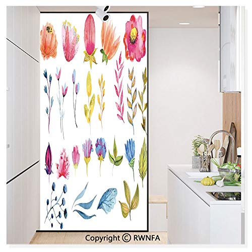 Decorative Window Film,Watercolored Decor Flowers Tulips Roses Colored Leaves Garden Design Print Static Cling Glass Film,No Glue/Anti UV Window Paper for Bathroom,Office,Meeting Room,Bedroom,Multico (Clear Rose Colored Glass)