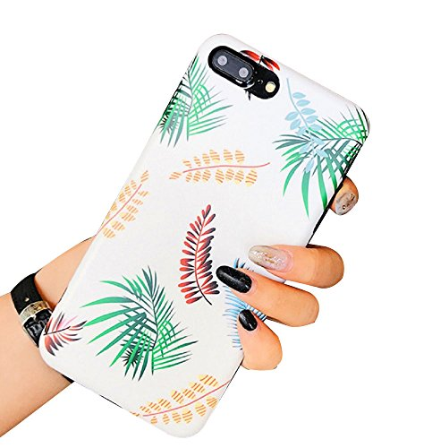 Casefit Hawaiian Tropical Palm Tree Leaves Protective iPhone 8 Plus / 7 Plus Case with a Ring Stand (White)#4 ()
