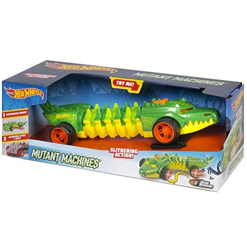 (Road Rippers Mutant Machines Commander Croc by Hotwheels, 1 Motorized Drive, 2 Glowing Eyes + SFX, Push Button for Slithering Action, Sounds & Movements & Light Up Action Ages 3+)