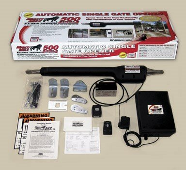 Mighty Mule Automatic Gate Opener for Heavy Duty Single Swing Gates for 18 Feet Long or 850 Pounds (FM500)