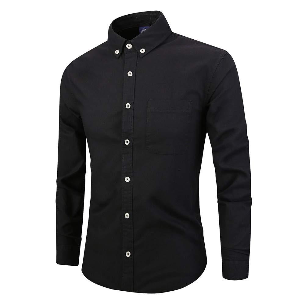 Holzkary Men's Dress Shirt Button Down Shirts Loose Long Sleeve Regular Fit Plaid/Stripe Casual Shirt Tops for Work(2XL.Black-2) by Holzkary