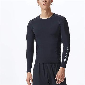 Hombre Deportiva Compresión Camiseta Equipo de entrenamiento deportivo para hombres Equipo superior Musculoso Top Compresión para hombres Gimnasio Manga ...