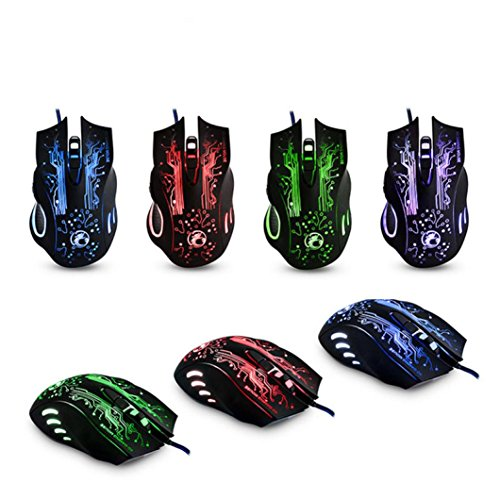 2.4GHz 2400DPI Optical Wired USB Gaming Mouse Mice With LED Light - 8