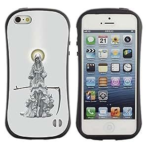 "Pulsar iFace Series Tpu silicona Carcasa Funda Case para Apple iPhone SE / iPhone 5 / iPhone 5S , Parca Ángel Guadaña de la Muerte del Cabo"""