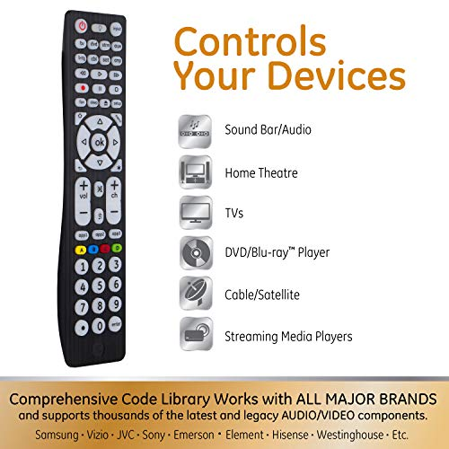 GE Universal Remote Control, Backlit, For Samsung, Vizio, LG, Sony, Sharp,  Roku, Apple TV, RCA, Panasonic, Smart TVs, Streaming Players, Blu-ray, DVD,