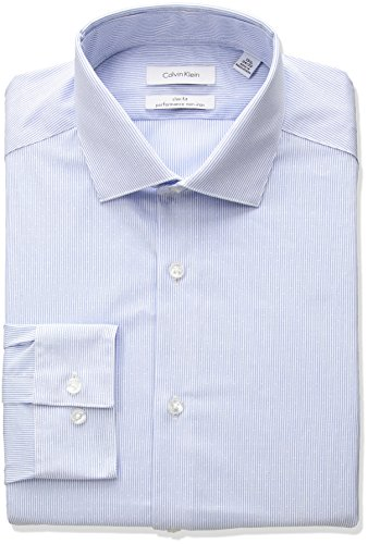 Steel Stretch Shirt (Calvin Klein Men's Non Iron Slim Fit Stretch Stripe Spread Collar Dress Shirt, Steel Blue, 17.5