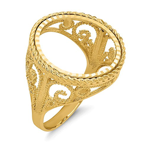 14k Yellow Gold 1/10ae Coin Band Ring Size 10.00 Fine Jewelry Gifts For Women For Her 14k Gold Grandma Charm Holder