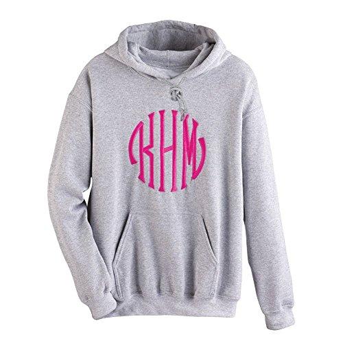 Unisex-Adult Monogrammed Hoodie - Custom Embroidered Personal Sweatshirt - Gray - Lg