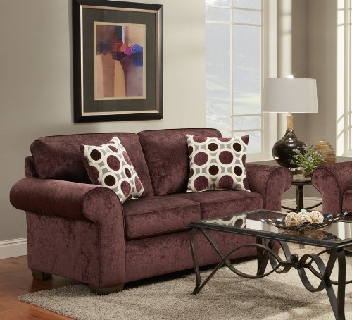 Roundhill Furniture Fabric Loveseat with 2 Pillows, Prism Elderberry - Elderberry Fabric Loveseat, dimension: 69 x 38 x 38H High-quality wood frame construction, modern block legs Durable Fabric material, high resilience back and seat cushions, toss pillows add cushioned comfort - sofas-couches, living-room-furniture, living-room - 51tmrOycFEL -