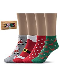 Silky Toes Women's Casual Low Cut/Holiday Everyday Ankle Socks, Multi Pack