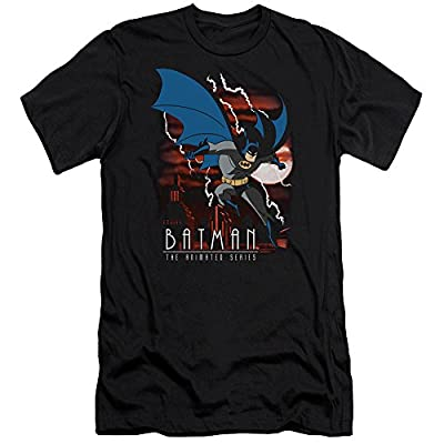 Batman The Animated Series Lightning Strikes Mens Slim Fit Shirt Black Lg