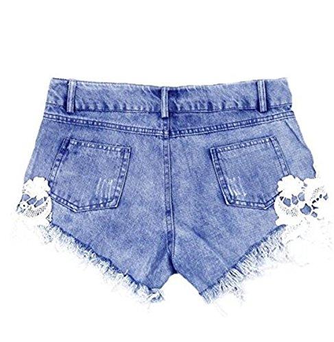 SHUNLIU Damen Hotshorts Damen Shorts Jeans Spitze Häkeln Tassel Damen Jeans Shorts Hohe Taille Blumenmuster Denim Shorts Lochjeans Jeans Hot Pants mit Taschen Damen Hotpants Jeans