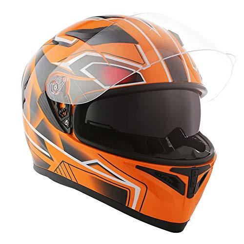 1STorm Motorcycle Street Bike Dual Visor/Sun Visor Full Face Helmet Panther Orange, Size Large (57-58 CM,22.4/22.8 Inch)